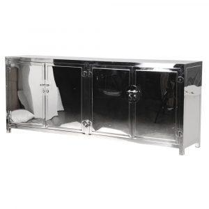 Sideboard - 4 Door - 2 Glass Shelves - Highly Polished Chrome - Glass Top