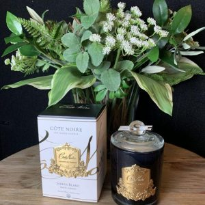 'White Garden' Scented Candle - Cote Noire Glass Design -100 Hours