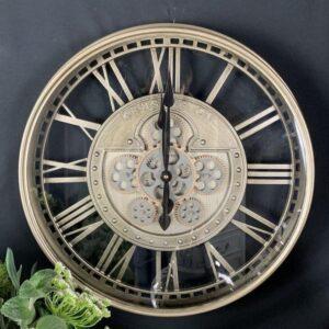 Wall Clock Kensington - Moving Cogs - Skeleton Design - Champagne Silver Finish