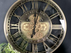 Wall Clock - Round 'Kensington' Moving Cogs - Skeleton - Gold Finish