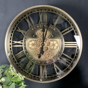 Wall Clock - Round 'Kensington' Moving Cogs - Skeleton - Gold Finish