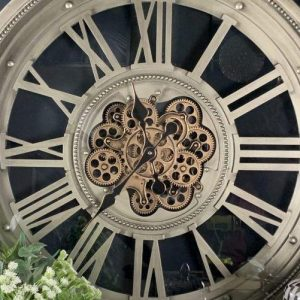 Wall Clock - Round Skeleton Gold Moving Cogs - Champagne Silver Finish