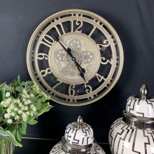 Wall Clock - Moving Cogs - Skeleton Design - Champagne Silver Finish