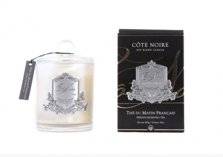 'French Morning Tea' Scented Candle - Cote Noire Glass Scented Candle -100 Hours