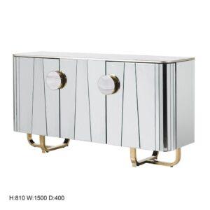 Sideboard - 2 Door - Marble Top - Brass Trim Mirrored Sideboard