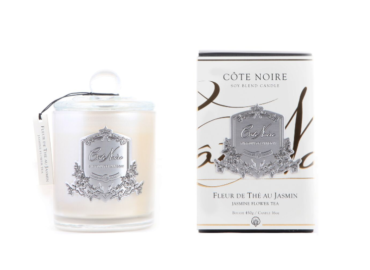 'Jasmine Flower Tea' Scented Candle - Cote Noire Glass Scented Candle -100 Hours