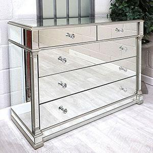 Chest Of Drawers - Silver Edged - Bevelled Mirror - 5 Drawer