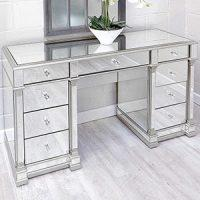 Dressing Table - Silver Edged - 9 Drawers - Bevelled Mirrored