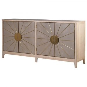 Sideboard - 4 Door - Oak Surround - Brass Trim Sunburst Sideboard