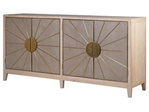 Sideboard - 4 Door - Oak Surround - Brass Trim Sunburst Sideboard