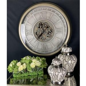 Wall Clock - Large Round Moving Cogs - Champagne Silver Finish