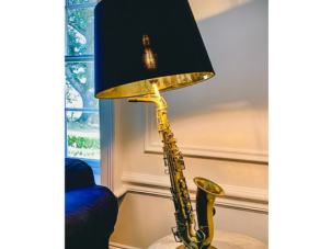 Saxophone Table Lamp - Antique Brass - Gold Inlaid Round Black Shade