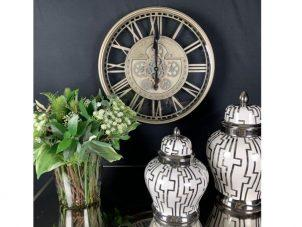Wall Clock Kensington - Moving Cogs - Skeleton Design - Champagne Silver Finish
