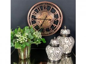 Wall Clock - Round Moving Cogs Skeleton Wall Clock - Copper Finish