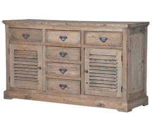Sideboard - Louvered - 2 Door & 6 Drawers- Reclaimed Colonial Oak Finish