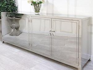 Sideboard - 4 Door - 2 Glass Shelves - Highly Polished Chrome Finish