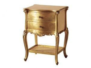 Bedside Cabinet - 2 Drawer - Rattan Shelf - Antique Gilt Range