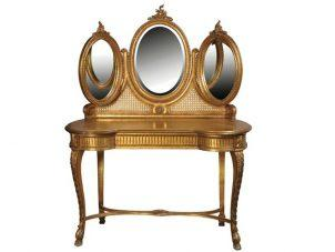 Dressing Table - 2 Drawer - Triple Mirrored - Antique Gilt Range