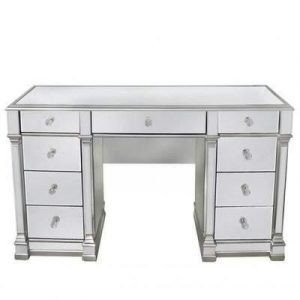 Dressing Table - Champagne Silver Edged - 9 Drawer - Mirrored Dressing Table