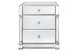 Bedside Cabinet - Champagne Silver Finish - 3 Drawer - Mirrored Furniture Range