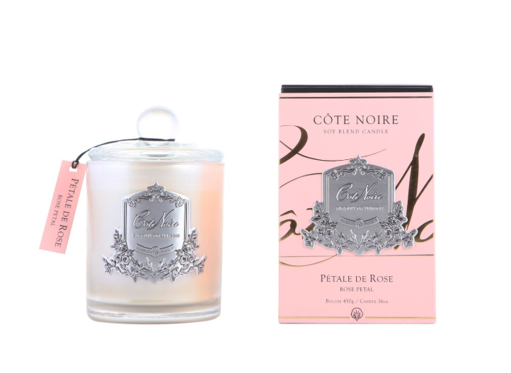 'Rose Petal' Scented Candle - Cote Noire Glass Scented Candle -100 Hours
