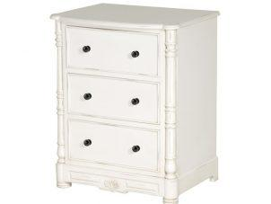 Bedside Cabinet - Carved Design -3 Drawer - French Antique White