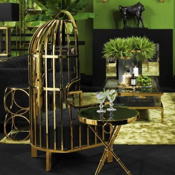 Porters Chair - Highly Polished Brass Frame - Black Velvet Upholstery