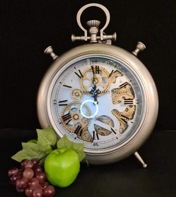 Mantel Clock - Champs Elysees Clock Co - Brushed Silver Mantel Clock