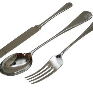 Knife Fork & Spoon Set - Polished Chrome - Designed For Wall Hanging