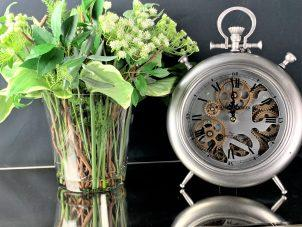 Mantel Clock - Champs Elysee's Clock Co - Brushed Silver Finish