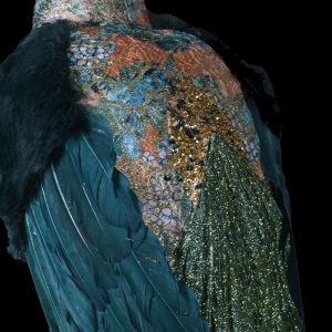Teal Peacock - Large Jewelled Christmas Peacock On Stand