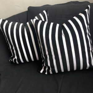 Scatter Cushion - Velvet Stripe Design 100% Cotton - Feather Filled