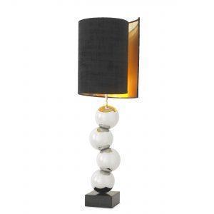 Table Lamp - Sculptured Chrome Ball Base - Black Velvet Illusion Shade