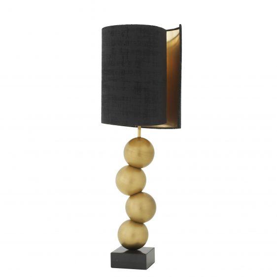 Table Lamp - Sculptured Gold Ball Base - Black Velvet Illusion Shade