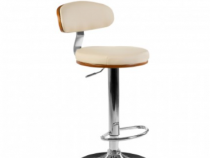 Bar Stool - Gas Lift System - Beechwood & Leather Effect