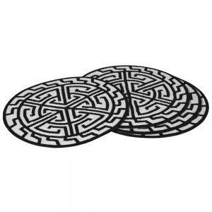 Place Mats - Round Black & White Heavy Beaded Place Mats - Set of 4