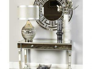 Console Table - Silver Edged - 2 Drawer - Mirrored Furniture Range