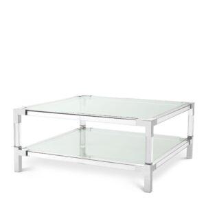 Coffee Table - Clear Glass - Polished Chrome & Acrylic - Shelf