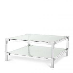 Coffee Table - Clear Glass & Polished Acrylic Finish - 2 Shelf Design