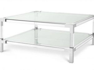 Coffee Table - Clear Glass & Polished Acrylic Finish - 2 Shelf Design