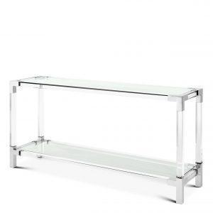Console Table - Clear Glass - Chrome & Acrylic - 2 Shelf Design