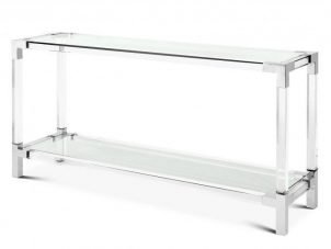 Console Table - Clear Glass - Chrome & Acrylic - 2 Shelf Design