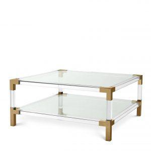 Coffee Table - Clear Glass & Polished Brass & Acrylic - 2 Shelf Design