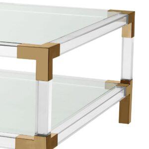 Coffee Table - Clear Glass & Polished Brass & Acrylic - Shelf
