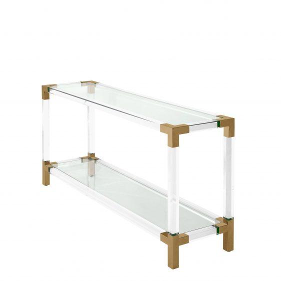Console Table - Clear Glass - Brass & Acrylic - 2 Shelf Design