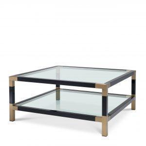 Coffee Table - Piano Black - Brass & Acrylic - Shelf