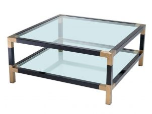Coffee Table - Clear Glass Piano Black - Brass & Acrylic - 2 Shelf Design