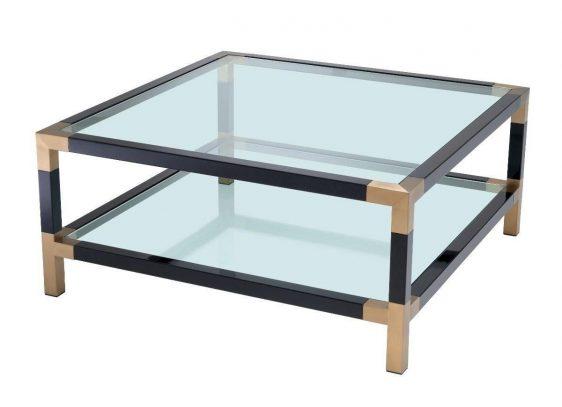 Coffee Table - Clear Glass Piano Black - Brass & Acrylic - 2 Shelf Design