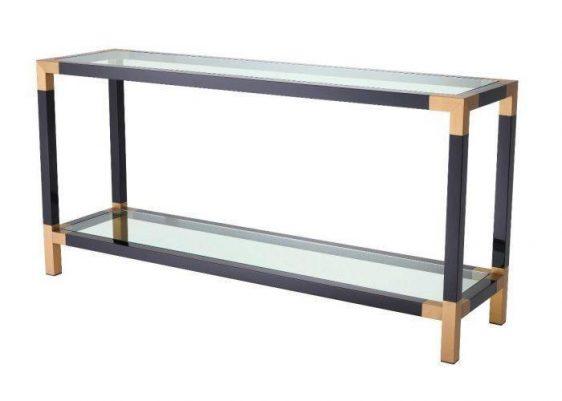 Console Table - Clear Glass Piano Black - Brass & Acrylic - 2 Shelf Design