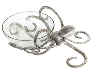 Octopus Bowl - Hammered Metal - Octopus Design - Glass Bowl